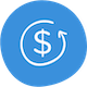 cost icon in blue circle