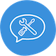 speech bubble with tools icon